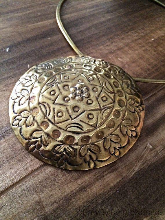 Cleopatra Tribal Ethnic Egyptian Choker Necklace Brass Vintage Aged