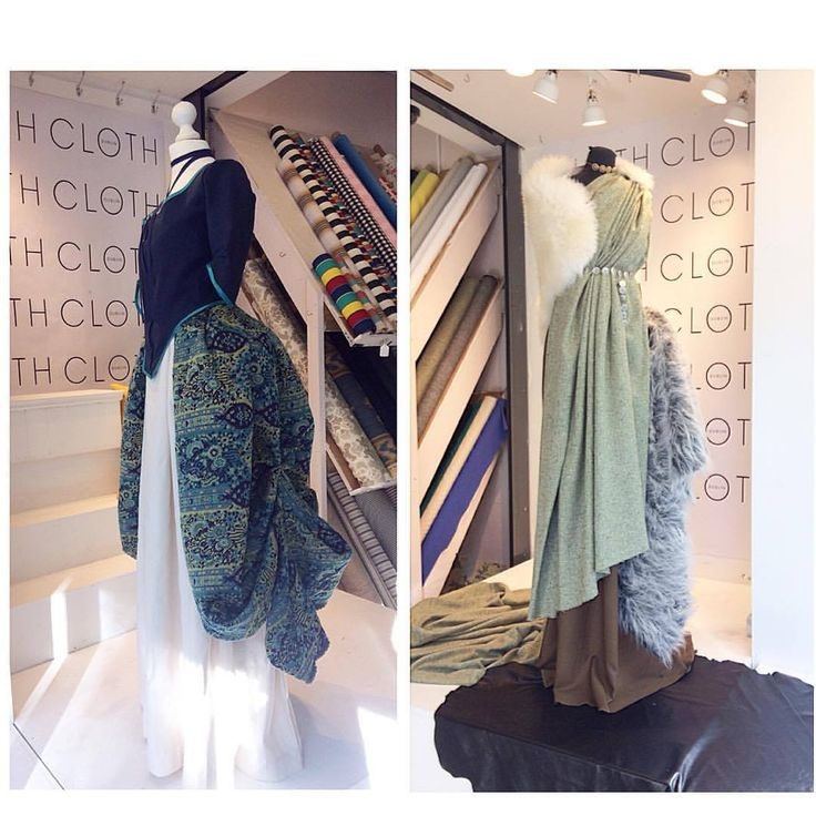 CLOTH October Window; with the month thats in it, we have a historical costume window display, curated by our very own Costume Designer Fiona Foley