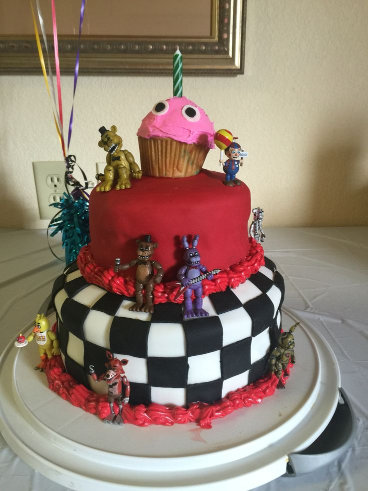 Five Nights at Freddy's cake! Husband, daughter and I worked together on this one. #fnaf