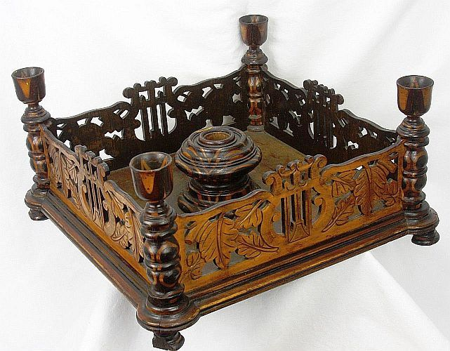 Antique Folk Art Hand Carved Wood Christmas Tree Stand ca1880                                                                                                                                                                                 More