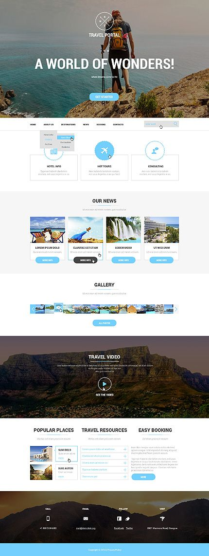 Template 50911 - Travel Portal Responsive Website Template #wordpress #themes