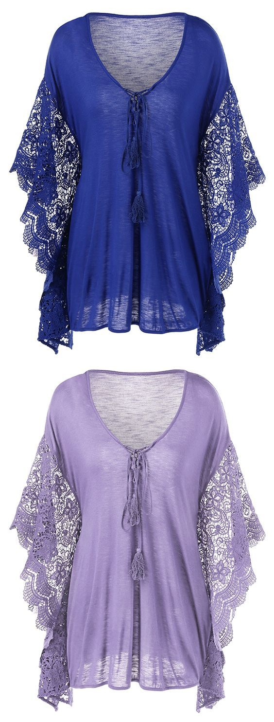 Plus Size Butterfly Sleeve Crochet Trim Blouse