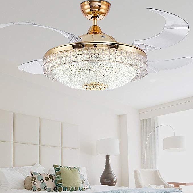 Huston Fan Gold Bedroom Retractable Fandelier Ceiling Fan With Led