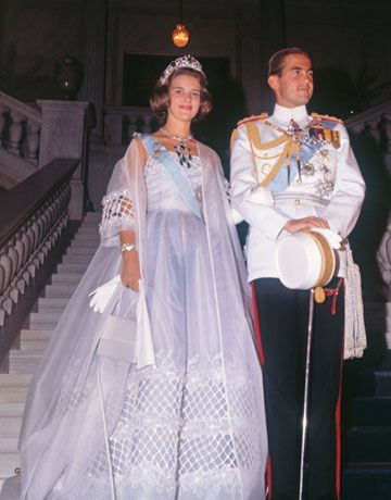 King Constantine of Greece and Princess Anne Marie of Denmark at their 1964 nuptials.