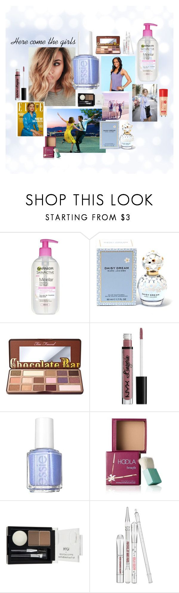 """""""Boots young target consumer"""" by emily-hutchin on Polyvore featuring beauty, Garnier, Marc Jacobs, Too Faced Cosmetics, NYX, Essie, Benefit and Rimmel"""