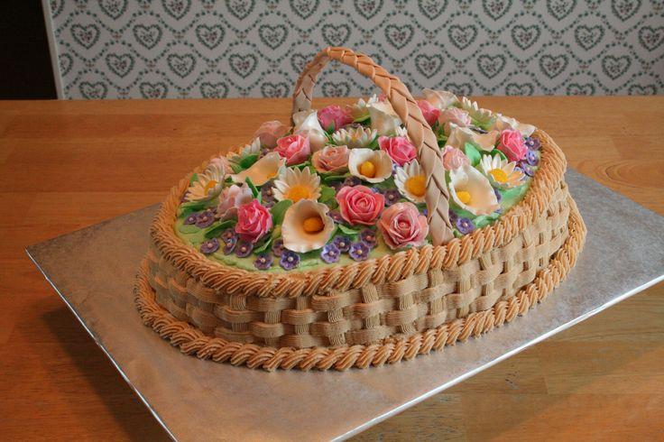 Basket of Flowers cake I made for Gramma Klassen's 88th birthday, Sept 2011.