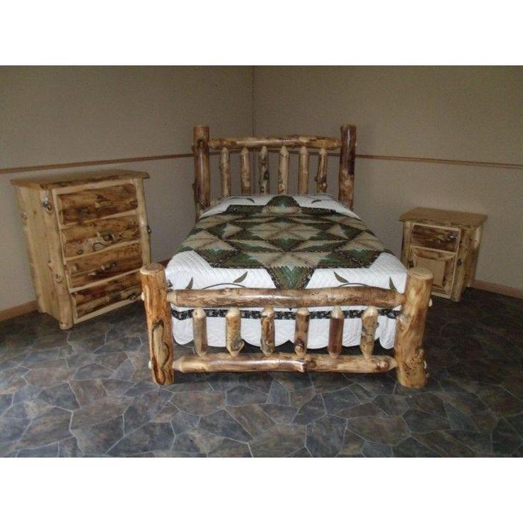 Rustic Aspen Log Complete Bedroom SET: Includes Bed, 4 Drawer Dresser & Nightsd