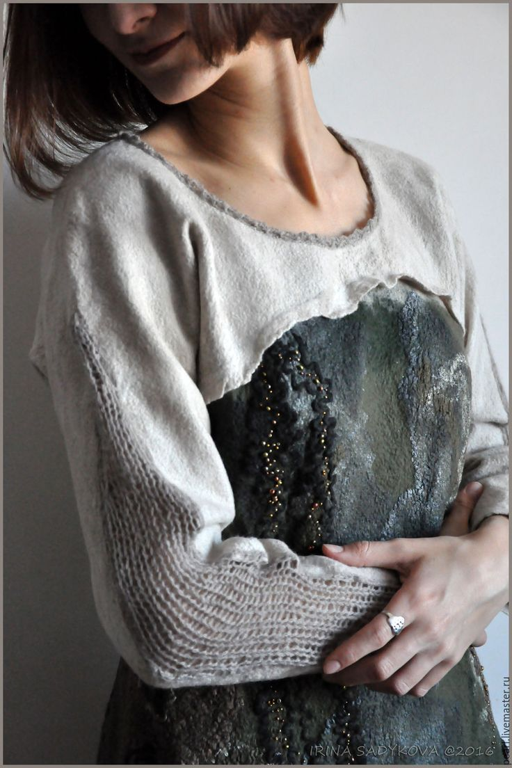 """Купить Свитер """"Дуновение"""" - комбинированный, абстрактный, свитер, туника, войлок, нунофелтинг, женский свитер"""