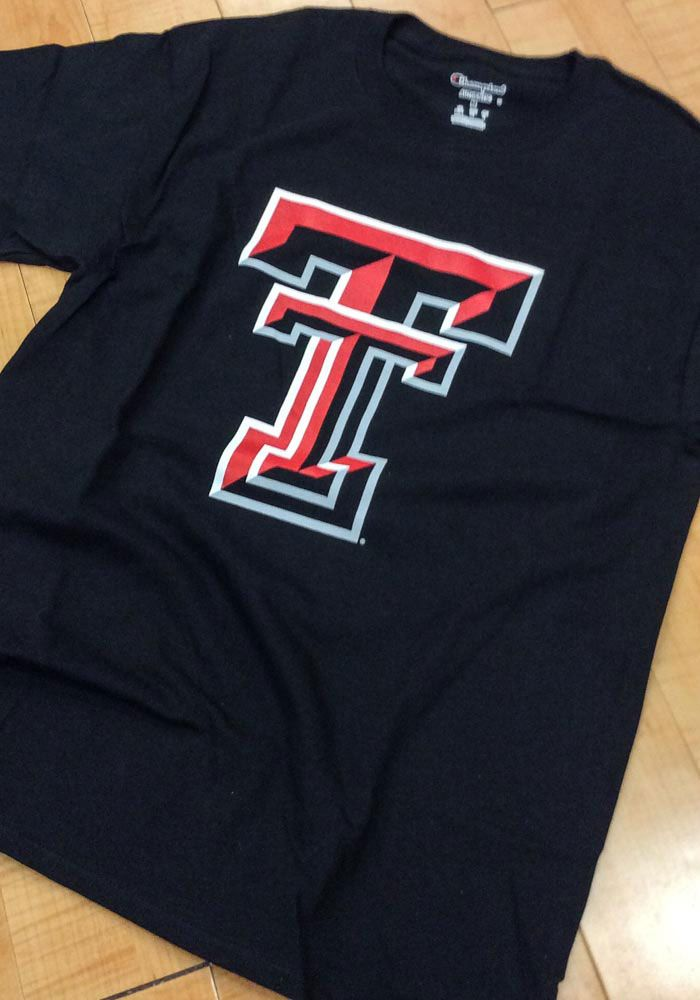 best service 3c98b 0ad13 Champion Texas Tech Red Raiders Black Big Logo Short Sleeve ...
