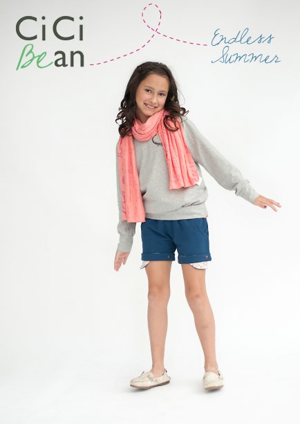 The CiCi Stylish Scarf in peach adds the perfect pop of colour to any #spring outfit! --paired with the Poolside Short & Endless Summer Sweatshirt | Cici Bean - SS13 Collection | #tweens #tweengirl #tweenfashion