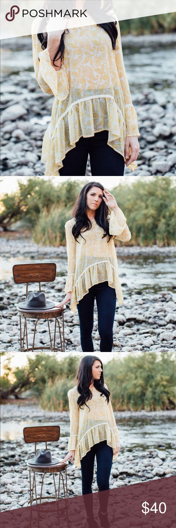 Paisley bell sleeve blouse Plus sizes included Sheer paisley yellow bell sleeve blouse! 100% polyester Tops Blouses