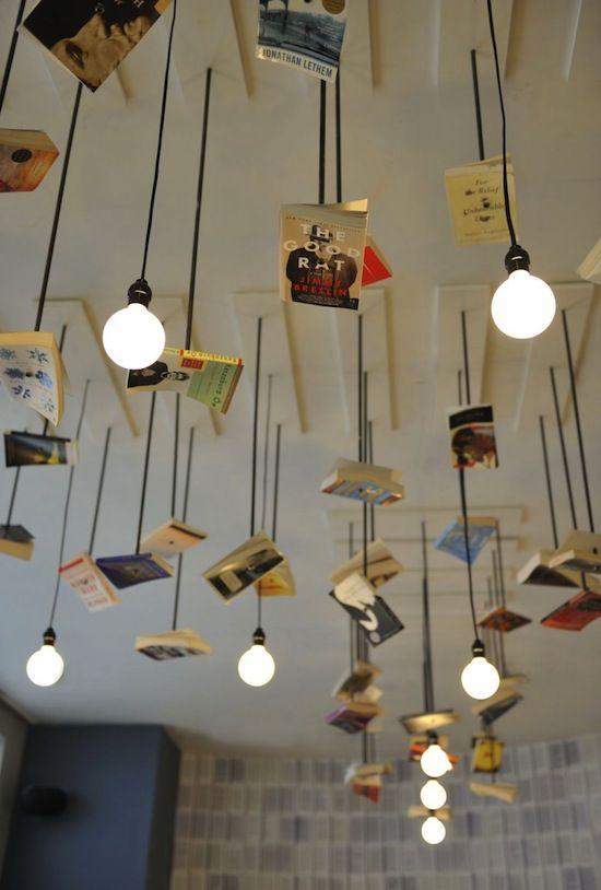A favorite NYC bookstore: Mc Nally Jackson: Mcnally Jackson, Cafe Interiors, Lights Fixtures, Restaurant Interiors, Books Design, Bookstores, Ceilings Design, Lights Ideas, Old Books