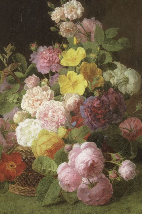 "c0ssette:    Jan Frans van Dael (Dutch, 1764-1840), ""Roses, Peonies and other flowers on a ledge"""
