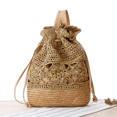 Boho Vintage-Style Handmade Bucket Hollow-Out Drawstring Beach/Tote Bag 4 Colors
