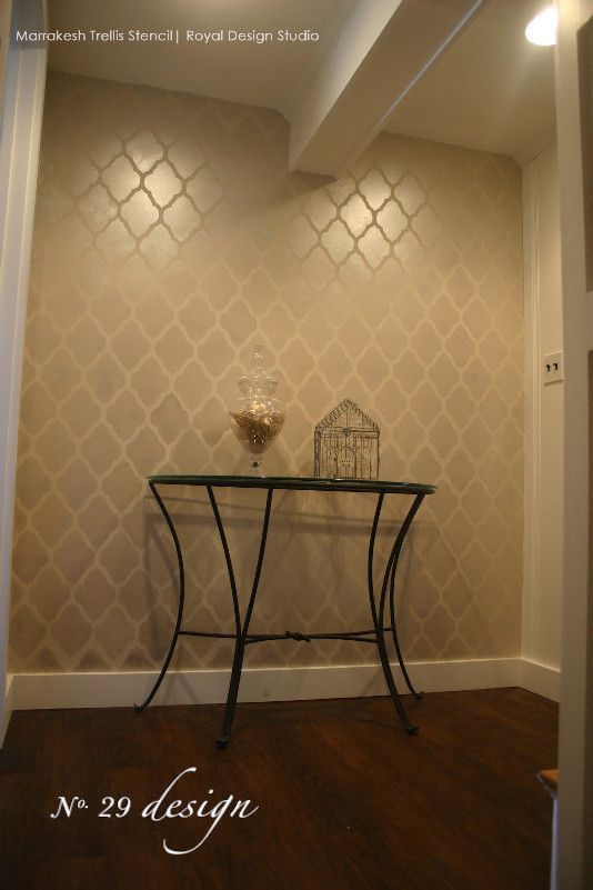 Painted Accent Wall with Marrakesh Trellis Moroccan Wallpaper Wall Stencils by Royal Design Studio