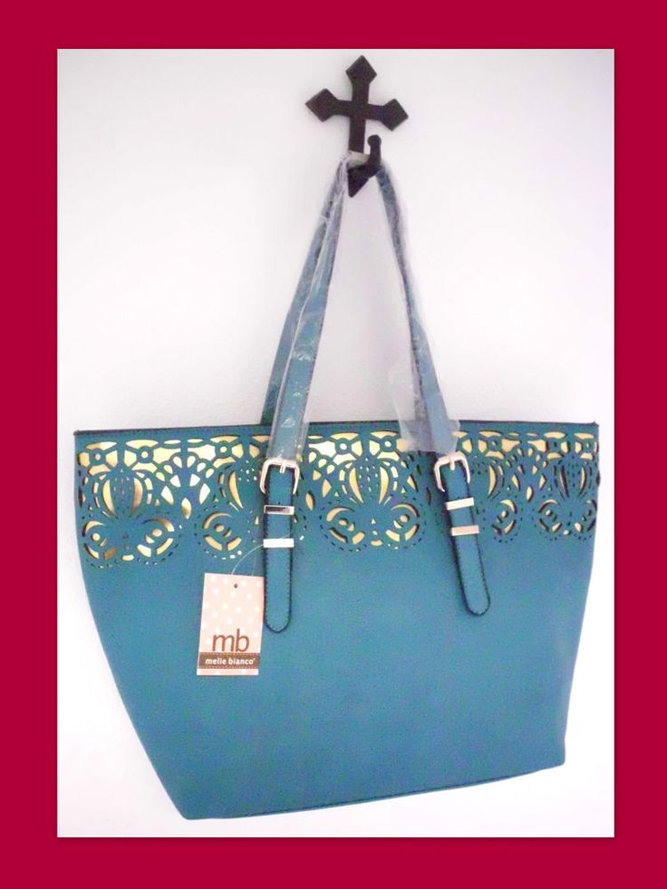 MELIE BIANCO Turquoise Gold Laser Cut Tatiana Carryall Shoulder Bag Tote Handbag #MelieBianco #ShoppingTote