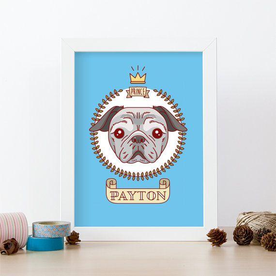 Retrato de perro raza Pug. Ilustración personalizada de carlino. Retrato de mascota. Descarga de PDF. Regalo original. Dibujo de mascota.