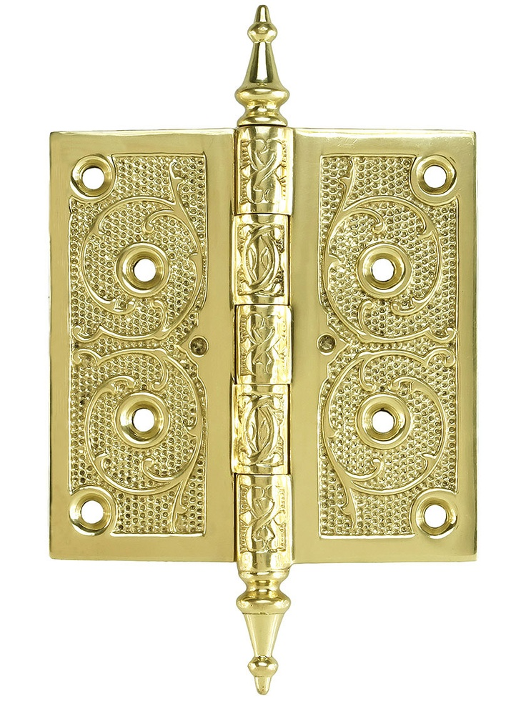 4 1 2 Quot Solid Brass Steeple Tip Hinge With Decorative Vine