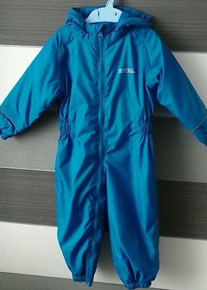 c5f97b1038ea Baby Boys Regatta Blue All In One Waterproof Lightly Padded Suit 12 ...