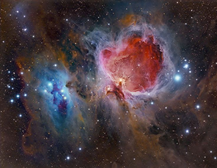 The Great Nebula in Orion, also known as M42, is one of the most famous nebulas in the sky. The star forming region's glowing gas clouds and hot young stars are on the right in this sharp and colorful image that includes the smaller nebula M43 near center and dusty, bluish reflection nebulae NGC 1977 and friends on the left. Located at the edge of an otherwise invisible giant molecular cloud complex, these eye-catching nebulae represent only a small fraction of this galactic neighborhood's…