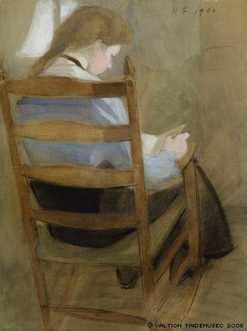 Helene Schjerfbeck: Lukeva tyttö - Girl Reading 1904