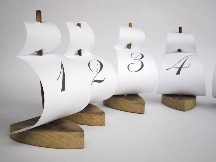 set of 6 sailing boat table number holder Could make little pirate ships for the kids at kindy