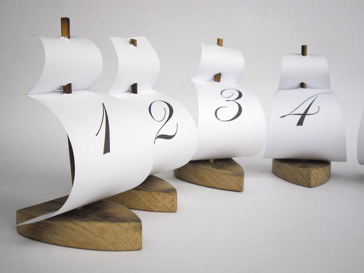 set of 6 sailing boat table number holder