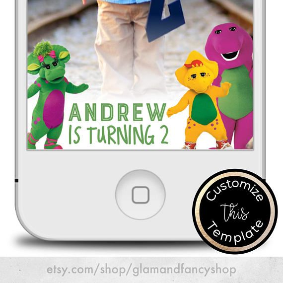 Barney The Dinosaur Birthday Snapchat Filter / Geofilter  Barney The Dinosaur Invitation, Barney invitation, Baby Bop Digital Invitation, BJ Barney Party, Barney Cartoon, Barney Character, Super Dee Duper Fun, Snapchat Geofilter, Snapchat Filter, Barney Party Theme, Barney Party Decor, Barney Snapchat, Barney Snapchat Filter