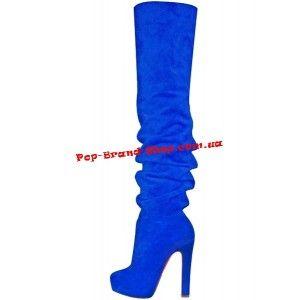 Ботфорты Christian Louboutin Rock OTK Boots синяя замша