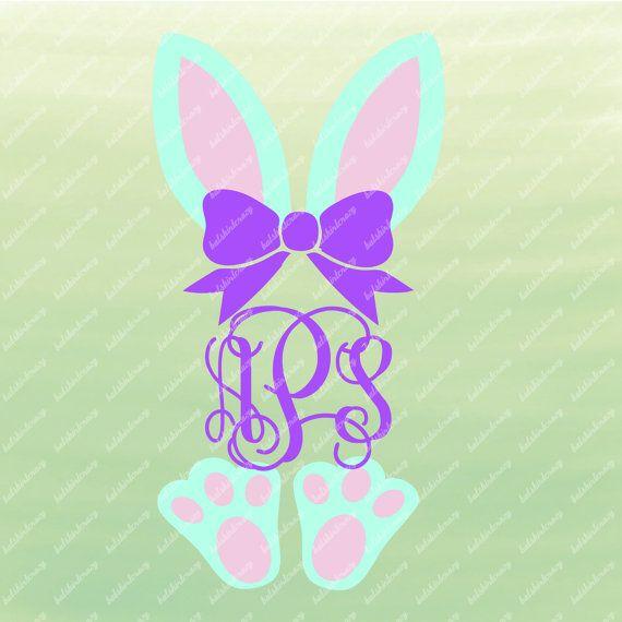 Bunny Monogram Svg Bunny Ears And Feet Easter Monogram Svg