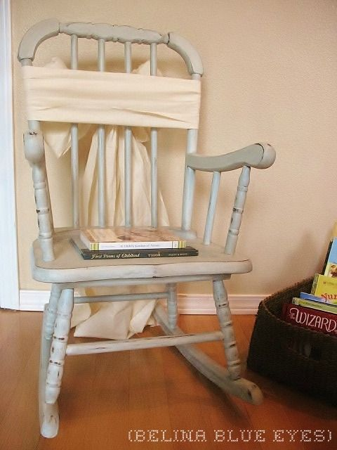 painted rocking chair with a furniture painting tutorial.