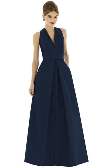 Alfred Sung V-Neck Dupioni Full Length A-Line Dress available at #Nordstrom