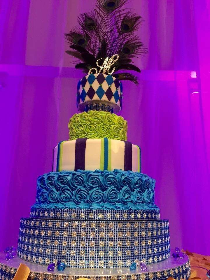 Peacock Quinceañera birthday party cake! See more party planning ideas at CatchMyParty.com!