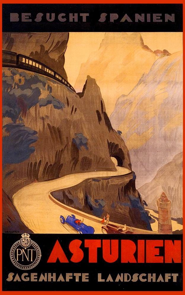 """Cartel turístico """"Visite España. ASTURIAS"""". Obra de Vaquero Palacios. Año 1929."""