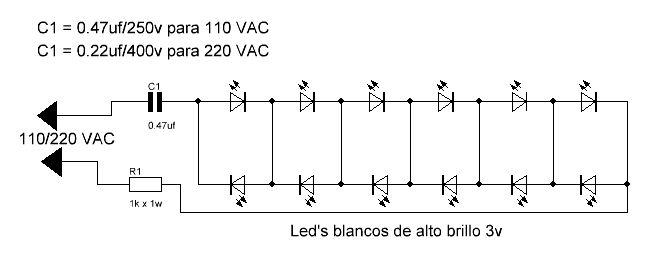 Bombilla LED diagrama esquemático.