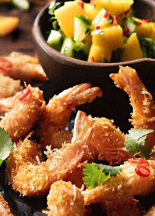 How to make Coconut Crusted Prawns with Mango Salsa