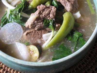Of all the different varieties of Sinigang(tamarind soup), my favorite is the Sinigang na Baka (Beef Tamarind Soup). Second favorite would be Sinigang na Baboy (Pork). I don't really like the fish and seafood ones (Milkfish and Shrimp).