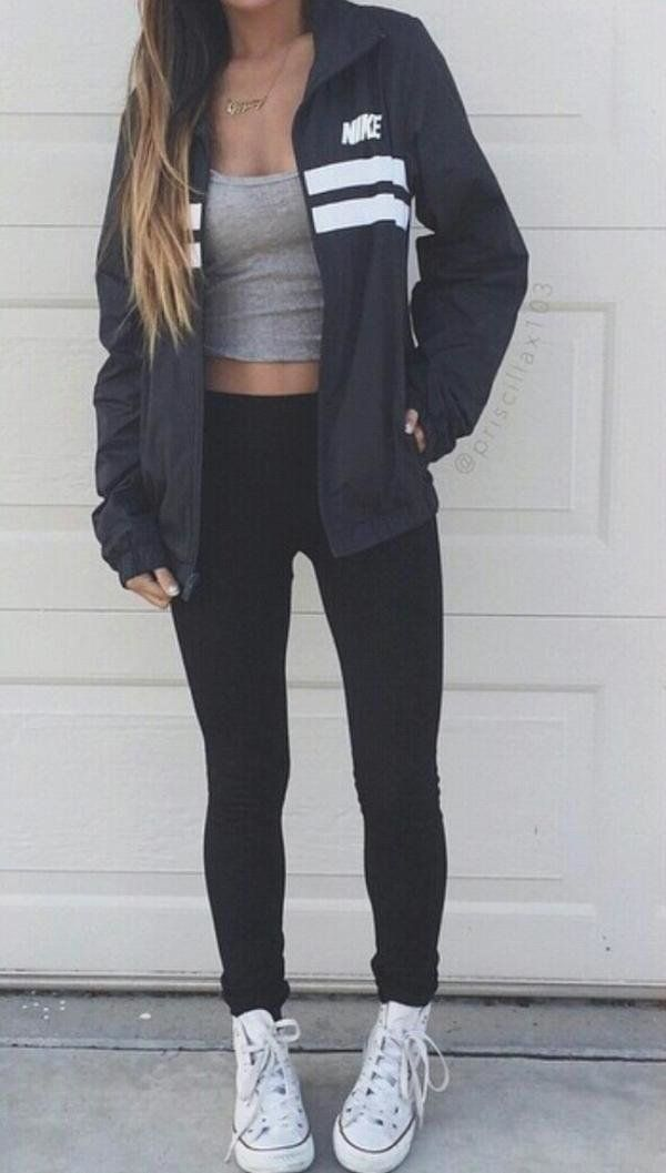 Gray Cami Top with Nike Windbreaker and Black Leggings with White Converse