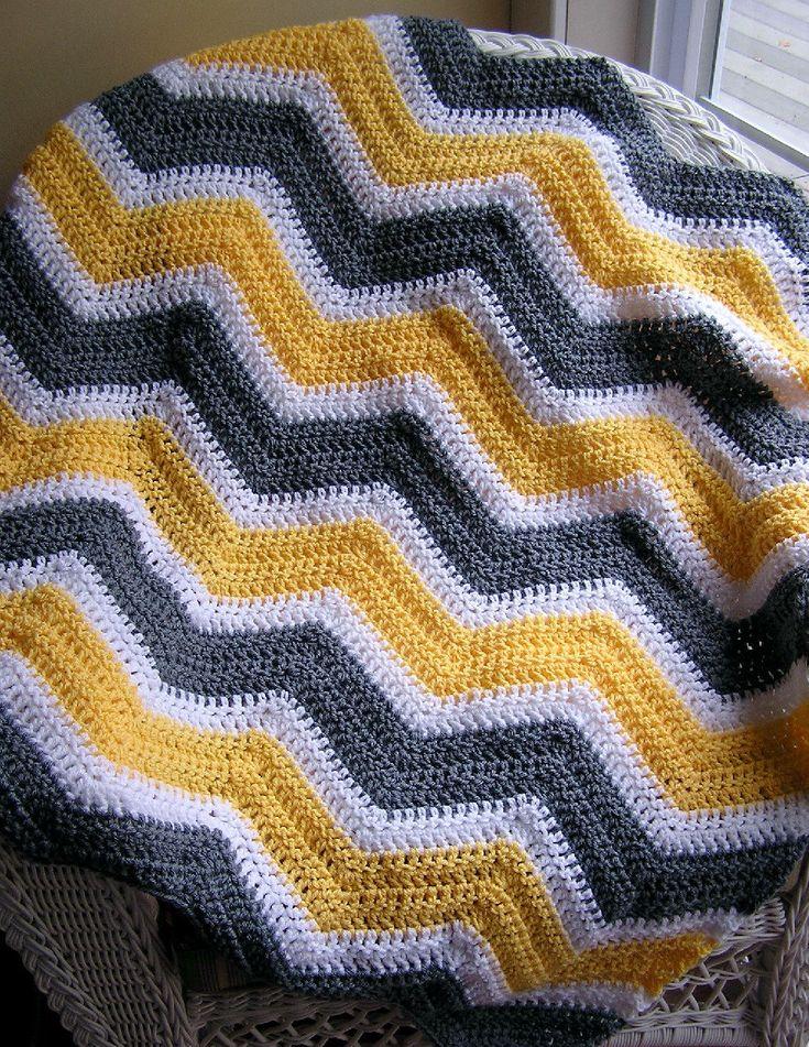 chevron zig zag baby blanket afghan wrap crochet knit lap robe wheelchair ripple stripes VANNA WHITE yarn yellow grey white made in the USA. $78.00, via Etsy.
