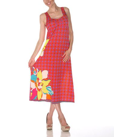 This Fuchsia & Yellow Floral Square Neck Dress is perfect! #zulilyfinds