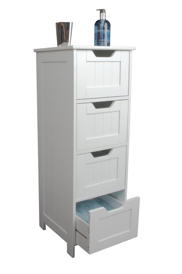 Slim white wood storage cabinet four drawers bathroom for White bedroom cabinet