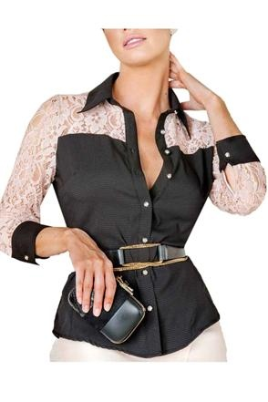 Camisa Feminina com renda Marie Mercie preta  REF: ZAYRA248-P Marie Mercié