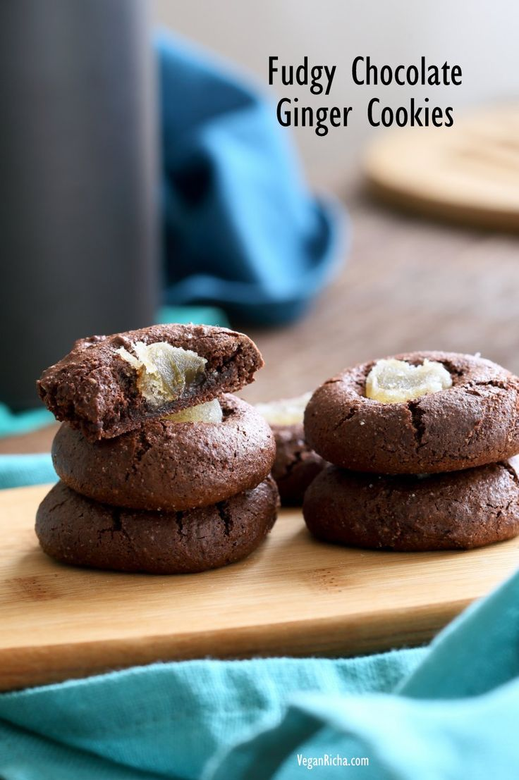 Fudgy Chocolate Cookies with Candied Ginger. Flourless Dark Chocolate Ginger Cookies. Vegan Gluten-free Paleo Refined oil-free Cookie Recipe | VeganRicha.com