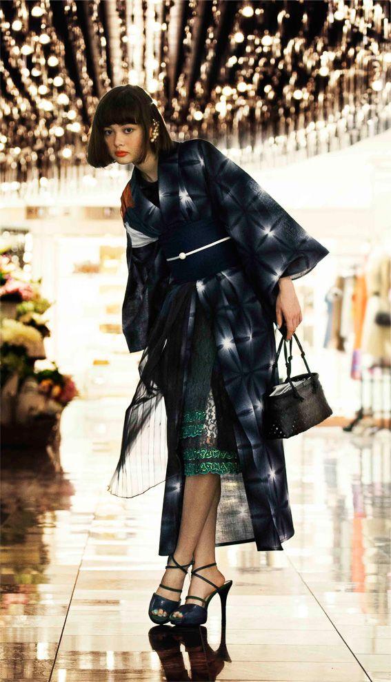 Kimono with High heels