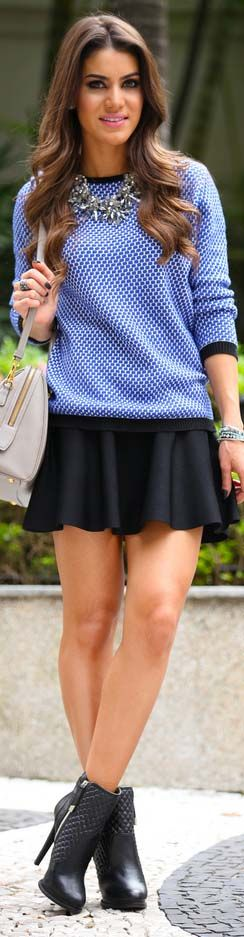Saia: BCBG / Sueter: Zara / Bolsa: Prada / Pulseiras: Ludora / Colar & Bota: Zara #outfit #skirt