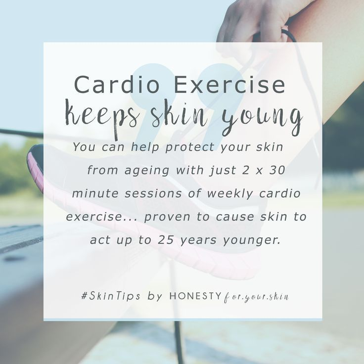 Got an important event coming up and want your skin to look fabulous? Did you know just a couple of quick cardio exercise sessions per week will help your skin to look younger, healthier and fresher... and it's much, much cheaper than anti-ageing skincare. Cardio exercise is in fact scientifically proven to anti-age your skin... isn't that great news!