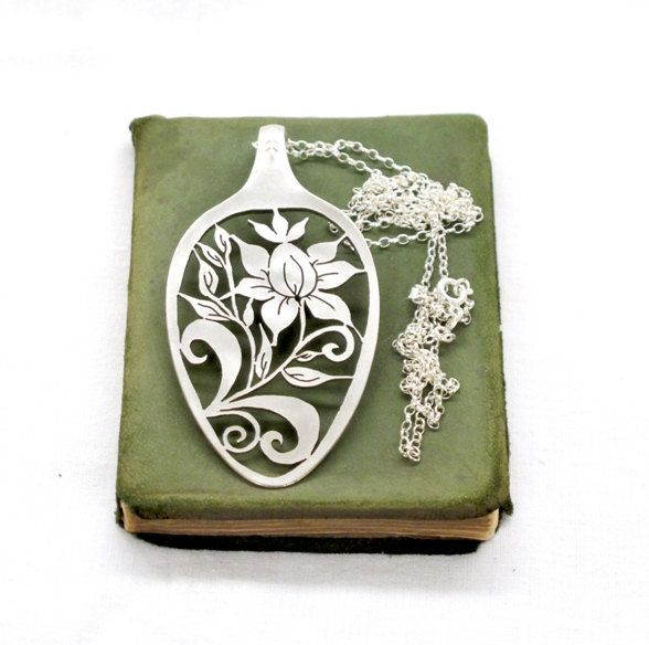 Just gorgeous!  Spoon Boho botanical flower spoon jewelry hand sawed cut out Fantasy Floral botanical Spoon Pendant large long sterling silver chain pendant. $89.00, via Etsy.