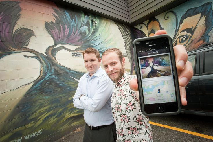 """Vancouverites Torin Kline (left) and Sam Wempe have developed an app called CURB that maps street art, such as """"Growing New Wings"""" by Steve """"The Creative Individual"""" Hornung behind the Beaumont Studios on West 5th."""