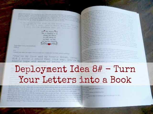 Deployment Idea 8# - Turn Your Letters into a Book! #Deployment #MilitaryLife - Maybe not even just for the military, but over the course of your relationship, if you send each other letters, put them in a book and reread them on golden anniversaries?