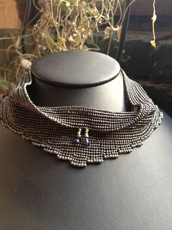 Necklace: stunning beaded cowl with raw sapphires
